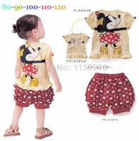 Wholesale 5 sets Girls baby Minnie mouse T shirts shorts suit clothing kids T shirt pants cartoon clothes set for children