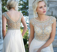 Wholesale New High neck Long Prom Dresses with Chiffon Lace Sequins Beading material and Two Shoulder Sleeveless Open Back See through Aline Style