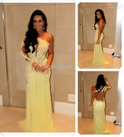 Wholesale One Shoulder Lace Yellow Prom Dresses Long Sleeve With Embroidery Sequins Ruffle Beading Material Backless Floor Length Mermaid Style