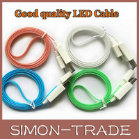 Universal   Colorful 1M 3ft LED Luminous Flat Micro USB Cable Data Cable USB Charger line For Samsung HTC Sony LG Galaxy S5 S4 S3