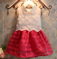 Wholesale In Stock Pageant Girl Dress Sleeveless Kids Dresses Lace Gauze Stripe Organza Cocktail Party Dress Contrast Color Dress White Blue Red C2524