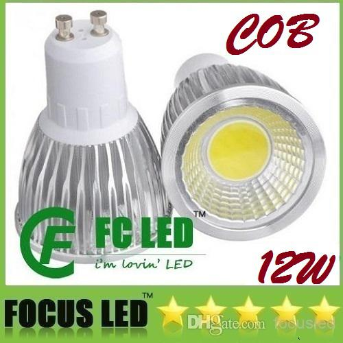 High Power COB GU10 12W Ampoules LED Light CRI85 Chaud / Pure / Cool Blanc Dimma