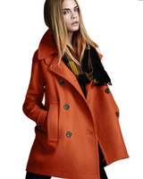 Wholesale 2014 winter coat women cardigan double breasted woolen outerwear women s coat medium long wool coat Q0867