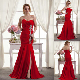 Wholesale Youthful Red Evening Dresses Mermaid Chiffon Sweetheart Pleats Beaded Floor Length Split Side Custom Made Sexy Beach Prom Gowns