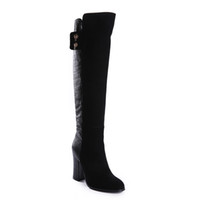 Wholesale Alligator Pattern Fashion Black Cashmere Wool Knee Boots For Lady Long Boots Women High Heel Shoes RQ1O2 Sizes