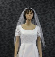 Wholesale Single Tier Ivory Veil - Fingertip Length Bridal Veil Raw Cut Edge Single Layer White Wedding Veil Illusion Tulle One Tier Ivory Bridal Veils DH7494