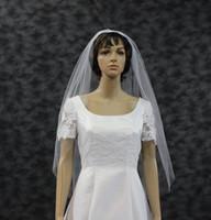 al por mayor prima única-Longitud de los dedos velo de novia sin procesar borde de vellón una sola capa de velo blanco de la boda ilusión Tulle uno de los vellos nupcial de marfil de tono DH7494