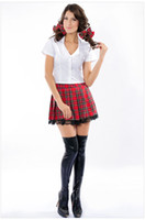 Sexy Costumes adult easter - Sexy Halloween Split Plaid Japan School Uniform Cosplay Girl Costume Stage Performance Adult Dancewear