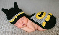 Boy Spring / Autumn Sleeveless Wholesale -Baby Girls Boy Newborn-9M Handmade Knit Crochet Batman Clothes Photo Prop Outfits