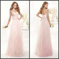 Reference Images Sweetheart Tulle 2015 tarik ediz Elbow Sleeve Evening Dresses Sheer Sweetheart Backless Prom Dresses Floor Length Baby Pink Long Evening Gowns with Sleeves