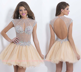 Wholesale Short Cocktail homecoming Dresses with High neck beading crystals see through bodice open back Mini short A line party dresses BL9850