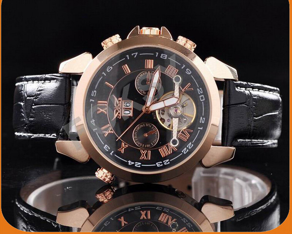 2015 год Победитель JARAGAR роскошные автоматические механические часы в 4 руки Дата Mystery Tourbillon мужские кожаные
