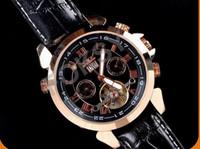 Wholesale Luxury JARAGAR Brand Men s automatic mechanical watches Flying Tourbillon Double calendar watch Genuine Leather Mens Wrist Watch Free Ship