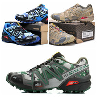 Soft Spike camouflage shoes - Fast delivery Salomon Running Shoes Speedcross CS Cool Style Camouflage Colors Sturdy Outsole Hiking Shoes Blue Beige Green Size