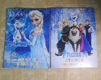 Wholesale New Arrival Hot sale Snow Romance frozen Colouring book frozen elsa and Anna sticker frozen princess children s educational painting