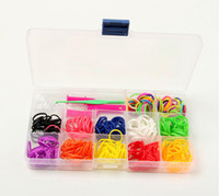 Wholesale Fashion rainbow loom bands kit Bracelet clear plastic box for Kids DIY bracelets with bands S C chips Y Weave tool hook box