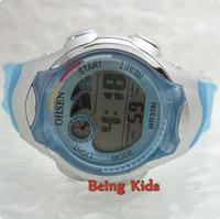 Children's best timing light - Light Blue Color OHSEN Kids Child Girl Sport Digital AL Stop Timing Soft Rubber Strap Wrist Watches New Best Gift