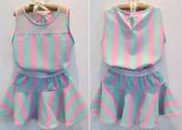Wholesale new summer girls pink blue stripe designer name brand clothing set kids t shirt skirt clothes sets
