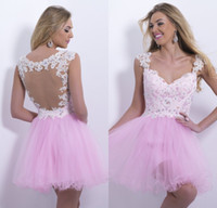 baby cocktail dresses - 20415 New Arrival Homecoming Dresses Baby Pink Cap Sleeves Cocktail Lace Applique Beads Prom Dresses Hollow Back Homecoming Dresses UM02114