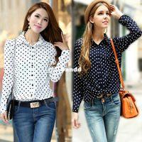Women chiffon Polo New s XXL White Navy Women Shirt Polka Dots Chiffon Vintage Blouse Long Sleeve