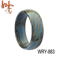 Band Rings Lord ring Unisex 2014 NEW Blue Damascus Style Tungsten Carbide ring 8mm width item NO. WRY-883