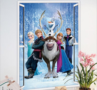 New Arrival Grand Frozen Autocollant Mural filles chambre 3D Window View Decal Elsa Anna