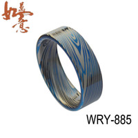 Band Rings Lord ring Unisex 2014 NEW Flat Blue Damascus Style Tungsten Carbide ring 8mm width item NO. WRY-885