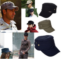 Wholesale European style Element Letter Flat Military Hat Leisure Baseball Cap Adjustable Flat top Army Caps CA03002