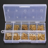 Wholesale Set Total Sizes Fresh Water Sea Fly Fish Fishing Tackle Hooks with Box