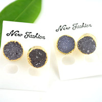 Wholesale 5pairs Top quality Natural Crystal Quartz Druzy Ear jewelry Natural Gem Druzy Jewelry Stud Earings mm in diameter