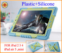Protective Shell/Skin ipad 2 3 4 air 5 mini  For Apple Pepkoo Plastic+Silicone weather waterproof shockproof Drop resistance Anti-Dust case for iPad 2 3 4 air 5 mini Retina with sticker