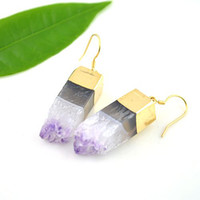Wholesale 5pair Natural Amethyst Quartz Druzy Jewelry Earring Gem Stone Earring Jewelry