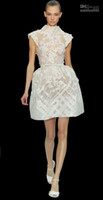 Reference Images Organza High Neck 2014 new design Sexy Ivory Elie Saab Spring Couture Collection High Neck Sheath Column Homecoming Dresses Applique sash prom party dresses