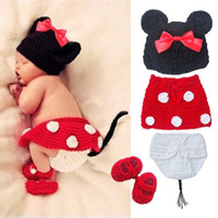 Unisex Spring / Autumn Sleeveless Wholesale -4pcs Set Crochet Newborn Baby Costume Infant Knit Minnie Mouse Outfits Photo Props