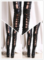 Leggings Skinny,Slim Capris 2014 New Women Sexy Lingerie Faux Leather Black Lace Up Leggings Wet look Clubwear Fashion Gothic Pants Ladies free shipping M,L