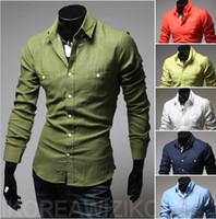 Cheap Man 2014 New Brand Men's Dress Shirts Non-iron Multi-color Long Sleeve Male Dudalina Shirts, Camisas Dudalina