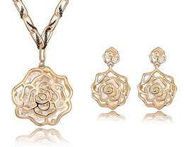 Wholesale New Selling Austria Crystal Necklace Earrings Rose Jewelry Sets Made With Swarovski Elements Bulk Flower Jewellery Lady Dress Gift STZ0014
