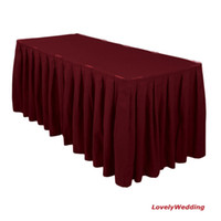 Wholesale 100 polyester visa table skirt for wedding amp banquet table skirting