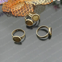 Couple Rings Jewelry Findings Metal Wholesale 18MM Antique Bronze round Copper Ring settings Findings Accessories 10 pieces(J-M3409)