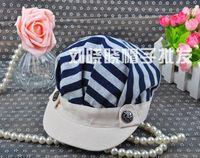 Wholesale B110 coastal striped navy military cap flat cap with stripes octagonal cap hat fashion hat spring models