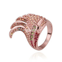 Wholesale Rose gold Plated Exquisite Fashion Exaggerated Crown Austrian Crystal Ring for Men and Women KGP R300