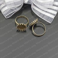 Couple Rings Jewelry Findings Metal Wholesale 18mm Antique Bronze Copper Ring settings Findings Accessories 20 pieces(J-M3165)