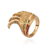 Wholesale 18K Gold Plated Exquisite Fashion Exaggerated Crown Austrian Crystal Ring for Men and Women KGP R299