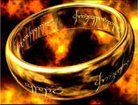 Wholesale The Lord of the Rings K gold plated Tungsten steel ring with bead chain L Stainless Steel men women jewelry