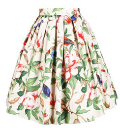Wholesale s Vintage Skirt the Peony with Bird European and American Style Polyester Stain Skirt with Pockets