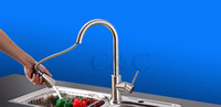 Wholesale Pull Out Kitchen Faucet Degree Two Functions Kitchen Sink Mixer Faucet Solid Brass Brush Nickle For Kitchen