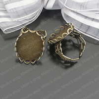 Couple Rings Jewelry Findings Metal Wholesale 18mm Antique Bronze Round Cameo base Copper Ring Settings DIY Jewelry Findings Accessories 10 pieces(J-M3159)