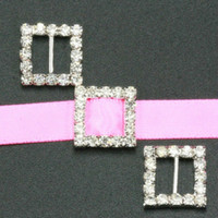 Wholesale 15mm Square Rhinestone Buckle Invitation Ribbon Slider For Wedding Supply Silver Color