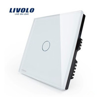 Wholesale New Arrival LIVOLO Switches Touch Panel Switch Luxury White Black Crystal Glass Switch Panel V Touch Screen Single Wall Light Switch