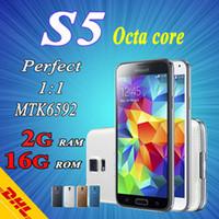 Wholesale Cell Phone S5 SM G900 Android Micro Sim Card MP Camera Smart Phone GSM900 GSM1800 WCDMA GSM1900 CDMA2000 GSM850 CDMA